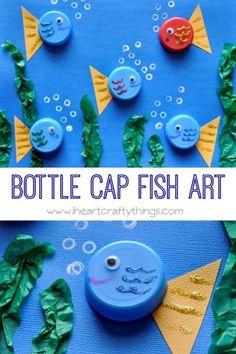Bottle cap fish art sea creature crafts for kids preschool, preschool animal crafts, art Sea Animal Crafts, Sea Crafts, Animal Crafts For Kids, Toddler Crafts, Art For Kids, Diy And Crafts, Arts And Crafts, Recycled Crafts For Kids, Decor Crafts