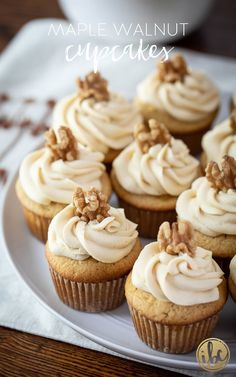 Delicious Homemade Maple Walnut Cupcakes #maple #walnut #cupcakes #dessert #recipe #fallbaking #maplecupcake #maplefrosting Maple Buttercream, Maple Frosting, Buttercream Frosting, Sweet Desserts, No Bake Desserts, Just Desserts, Dessert Recipes, Fruit Dessert, Maple Cupcakes