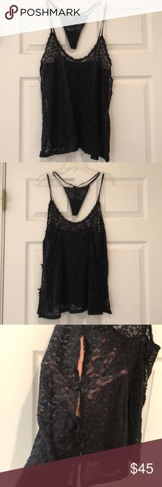 Victoria's Secret Black Lingerie Black laced Victoria's Secret lingerie top/adjustable straps in back/100%nylon/small cut outs along each side with bows (see pic)/matching g-string panty/NWOT Victoria's Secret Intimates & Sleepwear