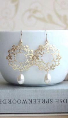 Gold Pearl Moroccan, Boho, Gypsy Filigree Earrings