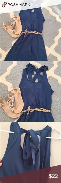 Maternity blue sleeveless belted tunic Absolutely adorable blue sleeveless belted tunic or short dress from Pink Blush Maternity. Ties into a bow at the top of the back (see pic). Belt included. Lined on the inside. 100% polyester. Excellent condition. Comes from a smoke-free and pet-free home. Check out my closet for other maternity clothes - I just listed a bunch! Happy Poshing! :) Pink Blush Maternity Tops Tunics