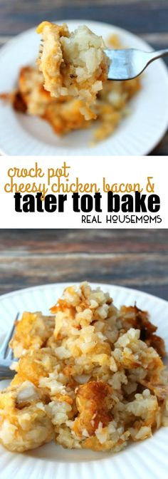 Crock Pot Cheesy Chicken, Bacon, & Tater Tot Bake is a delicious and super easy meal to put together. Your whole family will love it! via @realhousemoms