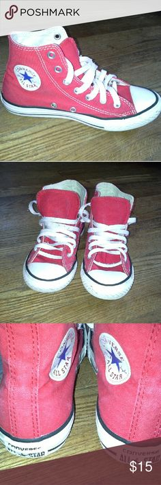 Converse All Star red high tops Size 2 +Good used condition +Normal wear (stains, markings, etc); Can probably be cleaned  a bit more +Overall in good condition +Brand: Converse +Size: 2 +NO trades; Offers always welcome Converse Shoes Sneakers