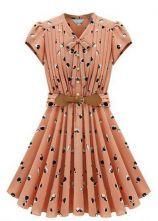 Light Orange Short Sleeve Apple Print Bandeau Pleated Dress $34.10