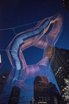 Janet Echelman Suspends Massive Aerial Sculpture Over Boston's Greenway © Peter Vanderwarker
