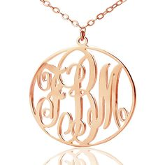 Personalized Vine Monogram Necklace Rose Gold Circle Monogrammed Necklace 40% off