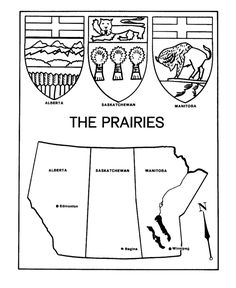 Canada Day - The Prairies - Maps / Coat of Arms Coloring Pages Social Studies Classroom, Social Studies Activities, Teaching Social Studies, Kindergarten Activities, Canada For Kids, Canada Day, Canadian Social Studies, Province Du Canada, Voyage Canada