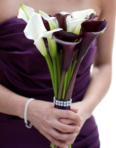 purple and white calla lilies wedding flower bouquet, bridal bouquet, wedding flowers, add pic source on comment and we will update it. www.myfloweraffair.com can create this beautiful wedding flower look.