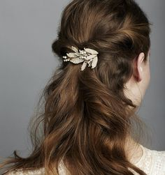 A petite version of the ever-popular Arielle motif, this barrette is perfect for adorning an updo or creating a subtle half-up half-down look. Handmade in New York. $368.00