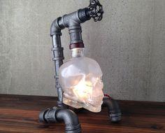 Steampunk pipe lamp   crystal pipes metal skull steampunk lamp