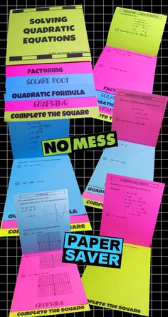 Solving Quadratic Equations Flip Book for Algebra and PreCalculus. Great addition to your classes that cover Quadratic Equations. This easy to make, foldable, paper saving Flip Book helps your students review and enhances your teaching of the techniques needed to solve Quadratic Equations.