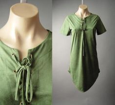 b6e173986f88f Details about Green Faux Suede Lace Up Tie Neck Western 70s Earthy Boho 157  mv Dress S M L