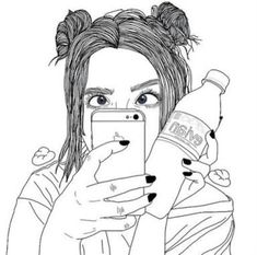 Illustration discovered by Wooh Lovely on We Heart It Tumblr Outline, Outline Art, Outline Drawings, Cute Drawings, Drawing Sketches, Hipster Drawings, Girl Drawings, Tumblr Girl Drawing, Tumblr Drawings