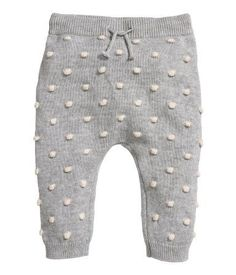 Light gray/dotted. BABY EXCLUSIVE/CONSCIOUS. Textured-knit pants in soft, organic cotton with dots. Ribbed waistband with a drawstring and ribbed hems.