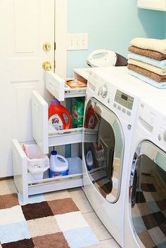 I want built in drawers next to washer for laundry soap *Create drawers to ceiling, lower one for slide out litter box.