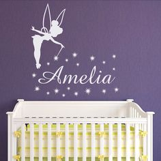 Tinkerbell Name Wall Decal Little Princess Personalized Decals- Girl Name Wall Decal Nursery Decals For Girls Bedroom Nursery Wall Art M061