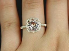 Barra Princess Size 14kt Yellow Gold Morganite and Diamonds Cushion Halo Engagement Ring (Other metals and stone options available) on Etsy, $1,175.00