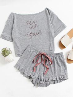 Shop High Low Top And Frill Hem Shorts Pajama Set online. SheIn offers High Low Top And Frill Hem Shorts Pajama Set & more to fit your fashionable needs.