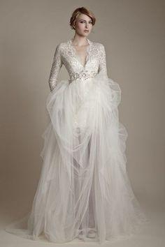 Winter Wedding - lace top, v-neck, long sleeves, tulle skirt, silver waiste embellishment