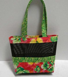 2b80074685 Original Price - Mesh Tote Bag or Purse with Colorful Floral Print Fabric  and Black Pet Screen Mesh