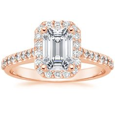 14K Rose Gold Fancy Halo Diamond Ring with Side Stones from Brilliant Earth