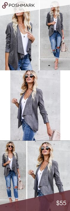 Grey Vegan Suede Draped Jacket Blazer This is a stunning grey draped vegan suede jacket blazer. Casual enough for everyday and professional enough for work. Dark grey color. Jackets & Coats Blazers