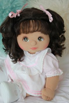 1985 U.S. My Child Doll hispanic girl in original outfit, i want that so bad. i was little had my child blond hair dont remember what happen. :(