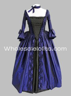 18th Century Black and Blue Gothic Marie Antoinette Dress Ball Gown Reenactment Clothing