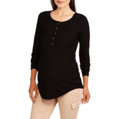 Inspire Maternity Long Sleeve Ribbed Henley Top, Size: Large, Black
