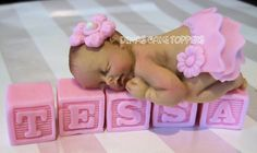 Tutu Baby Shower Cake Topper favors headband decorations blocks name Birthday Welcome Baby FONDANT Gum Paste BABY