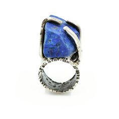 Hand fabricated Sterling silver ring, set with Lapis Lazuli