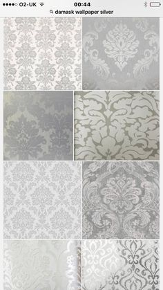 61 best Ideas for damask wallpaper living room bathroom Grey Wallpaper Dining Room, Accent Wallpaper, Bathroom Wallpaper, Bathroom Grey, Grey Damask Wallpaper, Paint Bathroom, Trellis Wallpaper, Bedroom Colors, Bedroom Decor