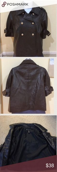 INC black leather cropped bolero jacket Gently worn , short leather jacket with silver buttons , buckle detail on the sleeves, 20 inches from top to bottom 🌟REASONABLE OFFeRS ACCEPTED🌟 INC International Concepts Jackets & Coats