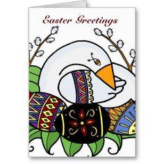 Goose and Pysanky Ukrainian Folk Art Greeting Card