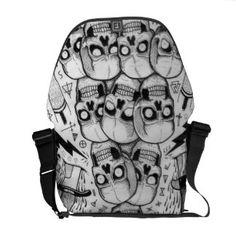 Shop skull bag created by bonethrower. Custom Messenger Bags, Cool Messenger Bags, Pack Your Bags, Beautiful Bags, Swagg, Boyfriend Gifts, Travel Bag, Bag Accessories, Shoulder Strap
