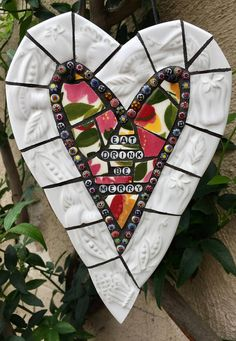 Eat Drink Be Merry... Mosaic Heart Vintage China Czech