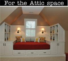 Beyond words Narrow attic bedroom ideas,Attic remodel near me and Attic renovation new orleans. Attic Spaces, Attic Rooms, Small Spaces, Attic Bathroom, Upstairs Bedroom, Attic Apartment, Attic Playroom, Upstairs Loft, Master Bedroom