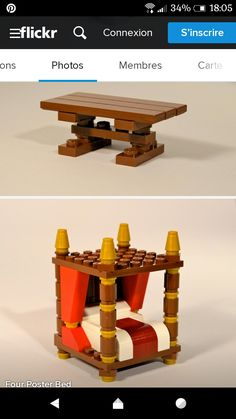 Lego, medieval table, and 4 post bed. Bloc Lego, Minifigura Lego, Lego Craft, Lego Hogwarts, Lego Design, Chateau Lego, Lego Village, Lego Furniture, Lego Challenge