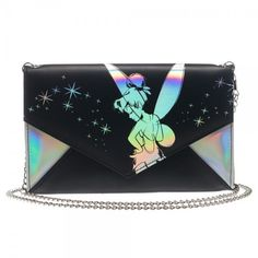 "Disney Tinkerbell Fairy Black Silver Envelope Wallet Clutch Purse 48"" Chain NWT"