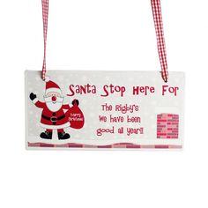Santa Stop Here Wooden Christmas Sign