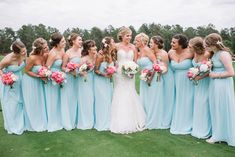 Light blue bridesmaids' dresses with bright pink bouquets   Joshua Aaron Photography