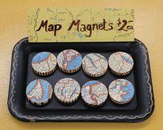 Vintage Map Magnets