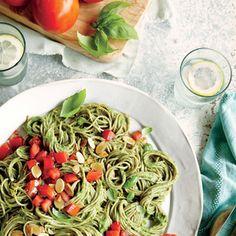 Spaghetti with Spinach-Avocado Sauce   | MyRecipes.com