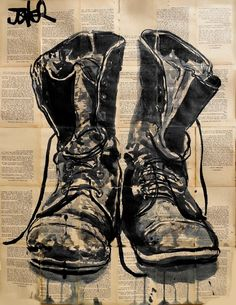 """Almost exactly like my Lino print from first year art school! I should pull it out and frame it.  """"These Old Boots"""" • Loui Jover {ink drawing}"""