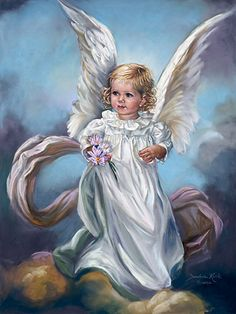 Here's an image of a beautiful little girl, depicted as an angel for the month of October, also featured is the month's flower. This heavenly image will delight anyone as a lovely birthday gift or for the upcoming holiday season.  By Sandra Kuck, Artist