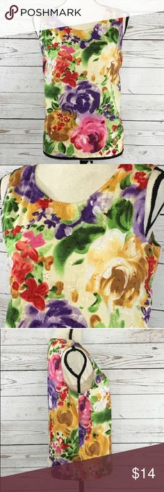 "Liz Claiborne Collection Floral Eyelet Blouse Beautiful purple, pink, yellow and green floral, sleeveless, eyelet blouse. Excellent used condition. Bust: 43""; Length in the back from the shoulder to the bottom hem: 23 1/4"". Measurements are approximate. Smoke free home. 🌺Thanks for shopping my closet😊🌺 Liz Claiborne Tops Blouses"