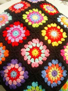 set of 2 crochet hippie happy granny square by handmadebyria