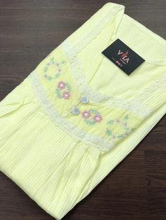 Saree Blouse Neck Designs, Kurta Neck Design, Blouse Designs, Night Wear Dress, Night Gown, Lace Embroidery, Hand Embroidery Designs, Night Suit For Women, Cotton Nighties