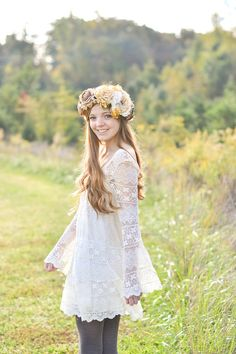 Elaborate Avant Garde Summer Floral Crown in Yellow, Cream and Brown