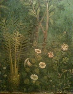 These painted gardens are from walls inside a house that was buried under the violent volcanic eruption of Mt...